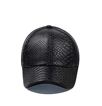 SNAKESKIN LEATHER EMBOSSED DAD HAT [BLACK]