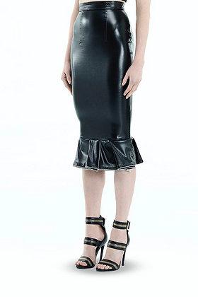 Leather Ruffled Zip Skirt