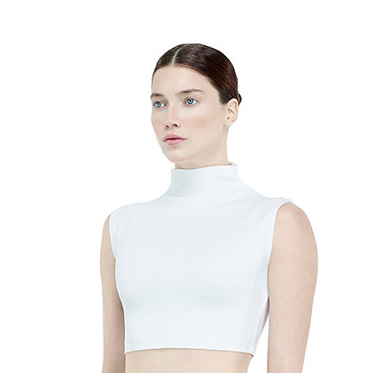 High Collar Sleeveless Crop Top