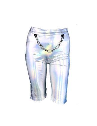 Iridescent Chained Biker Shorts