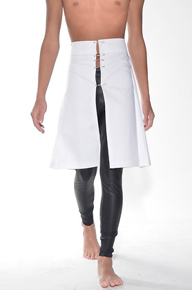 #33# White 4 Pleat Denim Kilt