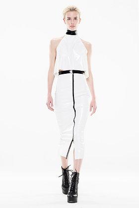 Patent Slicker White & Black Strip Skirt