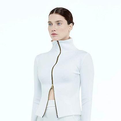 Asymmetrical Inverted Zip Jacket-White