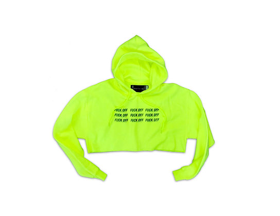 """""""FUCK OFF"""" Neon Cropped Hoodie"""