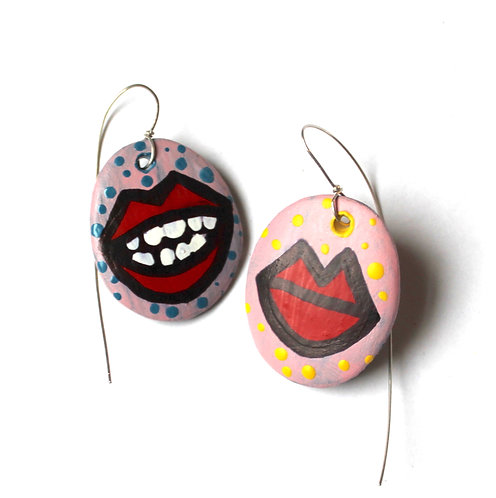Votive Open and Closed Mouth earrings