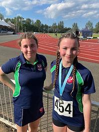 Olivia Evans 300m and Emily Evans 200m s