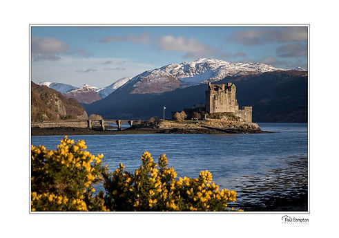 reflections, trees, mountains, clouds, , scotland, highlands, castle, heratage, snow, yellow, loch, elean