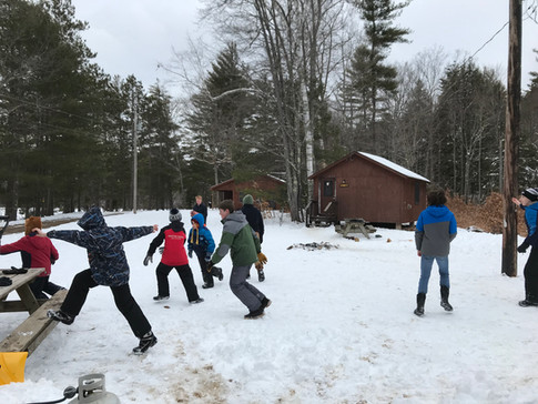 Playing at Winter Cabin Camping