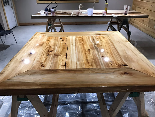 Epoxy Cypress Square Table