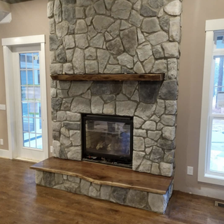 Walnut mantle and hearth