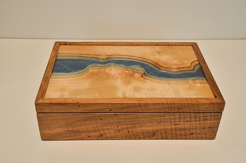 Topographic Maple and Resin Keepsake Box