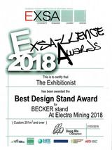 2018_Best Design Stand_Becker-EXSA_Award