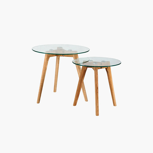 Wishbone Wooden Nesting Side table Set