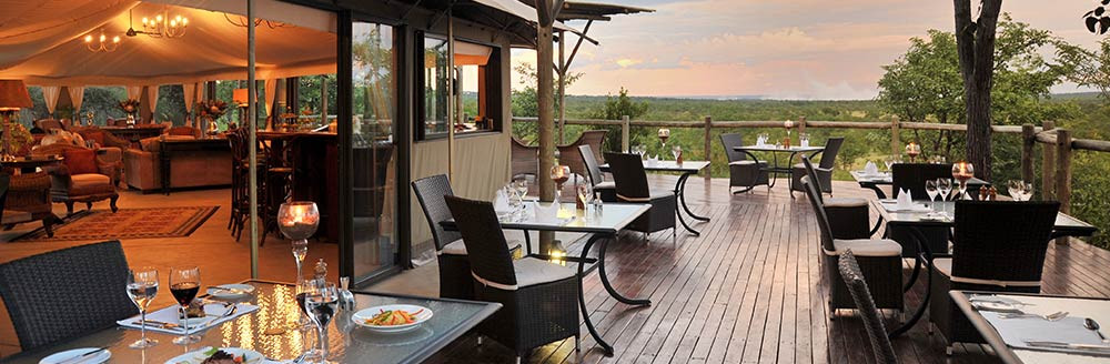 Elephant Camp viewing deck in Victoria Falls, Zimbabwe