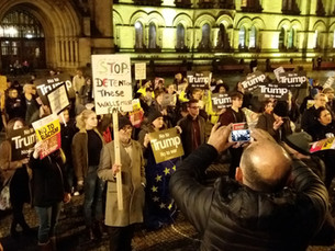 Hundreds of protesters rally in Manchester against Donald Trump state visit