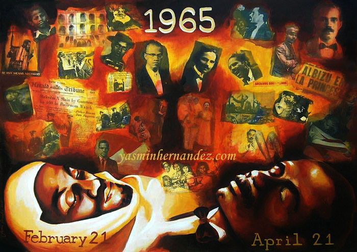 Artwork of corpses of Malcolm X and Pedro Albizu Campos