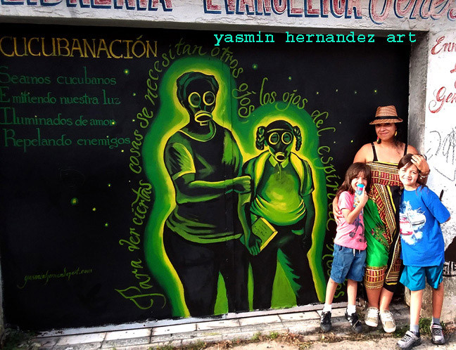 CucubaNación mural, Artist Yasmin Hernandez & her sons