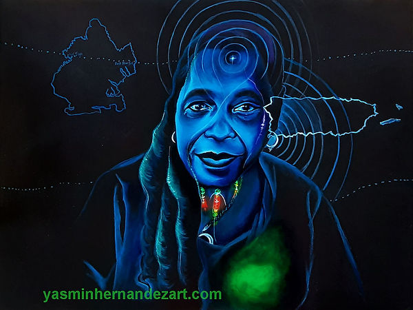 Rematriated momma bioluminescent boricuas by Yasmin Hernandez Art