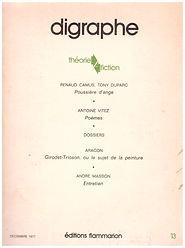 Renaud Camus et Tony Duparc poussière d'ange revue digraphe n° 13, 1977 préoriginal travers