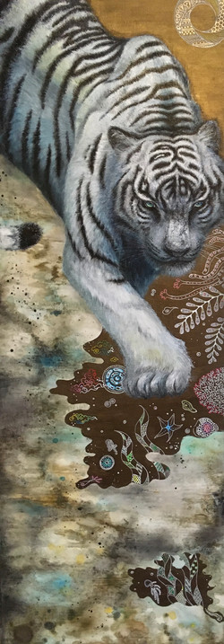 White Tiger / 15×42in Acrylic on canvas