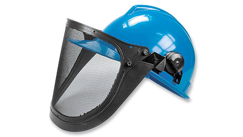 Casco de Seguridad Tipo Industrial con Protección Facial • Visor malla metálica