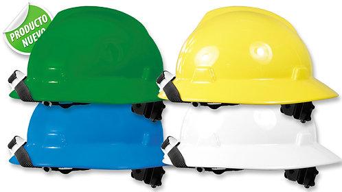 Casco de Seguridad Petrolero-Minero•Tafilete de 4 apoyos, barbuquejo de 2 apoyos