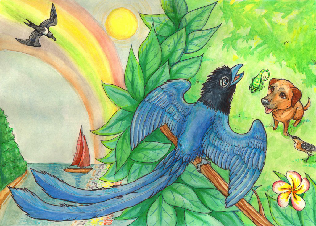 Front and back cover traditional media watercolour childrens book