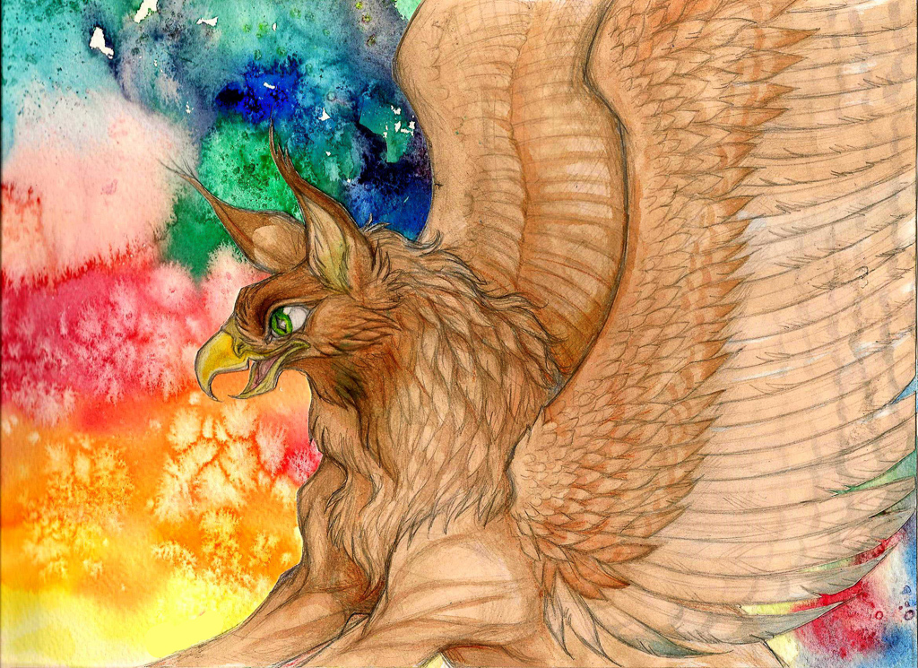 Griffin Watercolour markers pencil traditional media