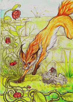Fox and chicken traditional media watercolour pen markers