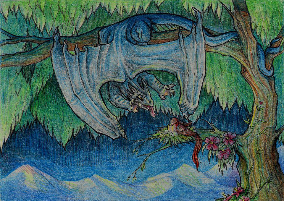 Dragon Bird Traditional media watercolour colour pencil