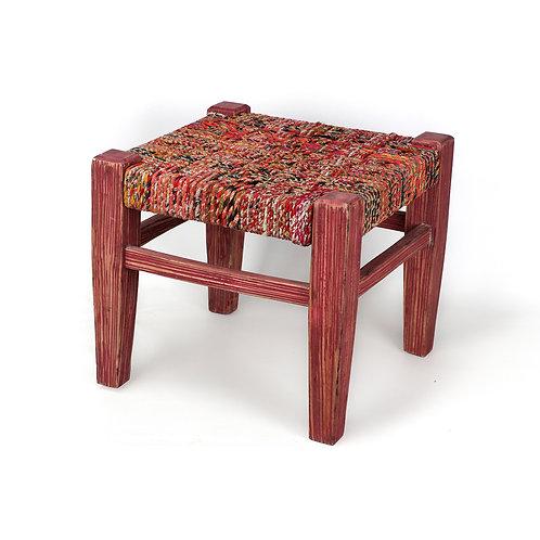 Recycled Sari Stool (Red)