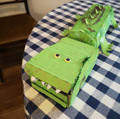 A cardboard dinosaur