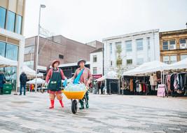 The Slime Gardeners walking through Barnsley Town Centre