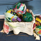 A collection of child made dinosaur eggs