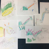 Child drawings of Dinosaurs