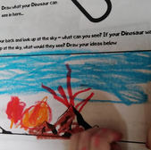 Completed Dinosaur worksheet