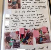 Nursery record book of children building Dinosaur landscape