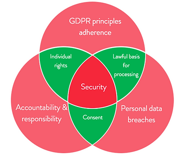 GDPR principles, security, risk management, consent, data breaches, data processing, individual rights, data breaches