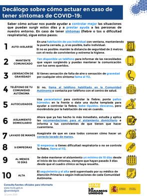 DECÁLOGO DE CÓMO ACTUAR EN CASO DE TENER SÍNTOMAS DE COVID-19