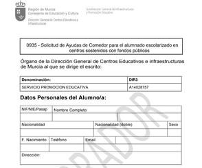 Abierto el plazo de solicitud de ayudas de Comedor para el curso 2020/21