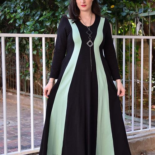 שמלת שמש חורפית מקסי שחור מנטה
