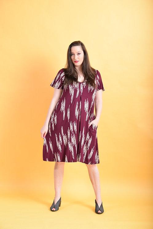שמלת איריס בורדו דוגמא