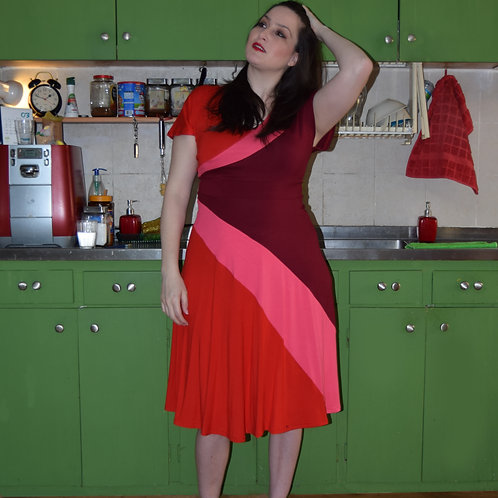 שמלת סופיה אדום ורוד בורדו