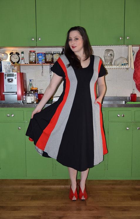 שמלת שמש שחור אפור אדום