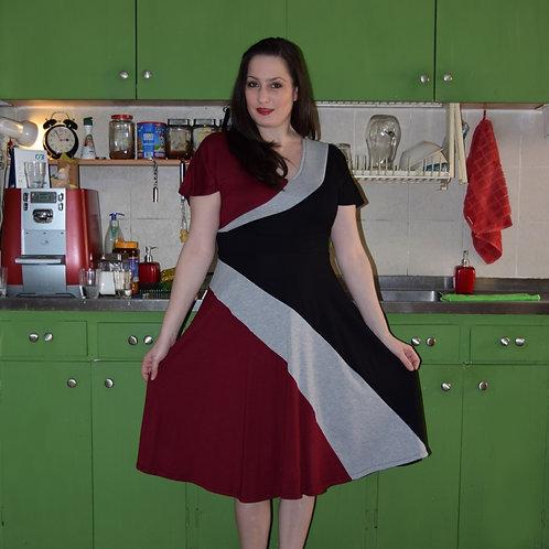 שמלת סופיה שחור אפור בורדו
