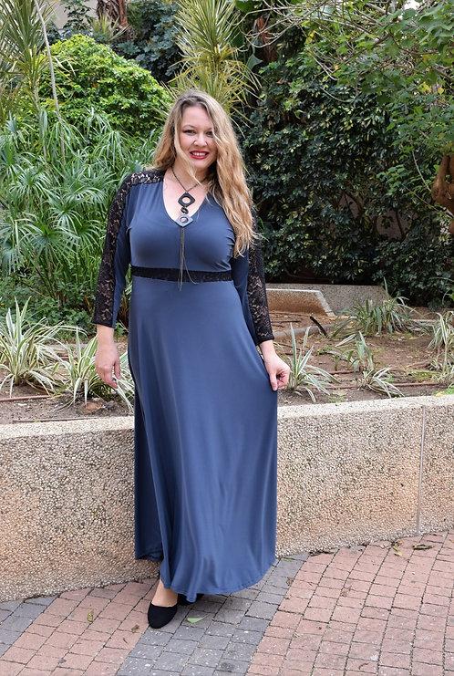 שמלת רוני ערב מקסי אפורה