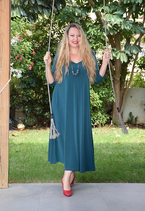 שמלת איריס מקסי ירוק בקבוק