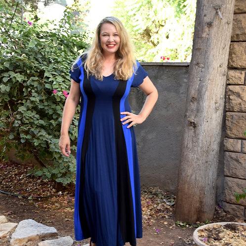 שמלת שמש מקסי כחולה