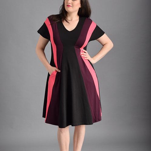 שמלת שמש שחור סגול ורוד