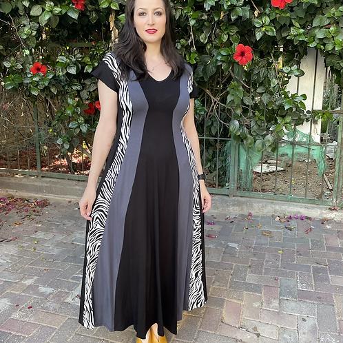 שמלת שמש מקסי שחור אפור זברה